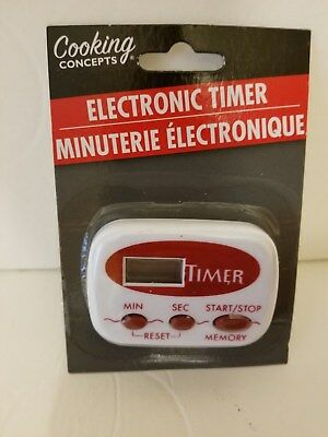 Electronic timer, kitchen timer,  work shop timer, red & white