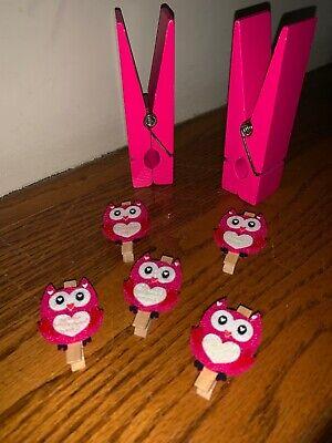 Large Paper Clip Photo Holder Mini Felt Owl Clothes Pins Office Memo Lot Tw4j1