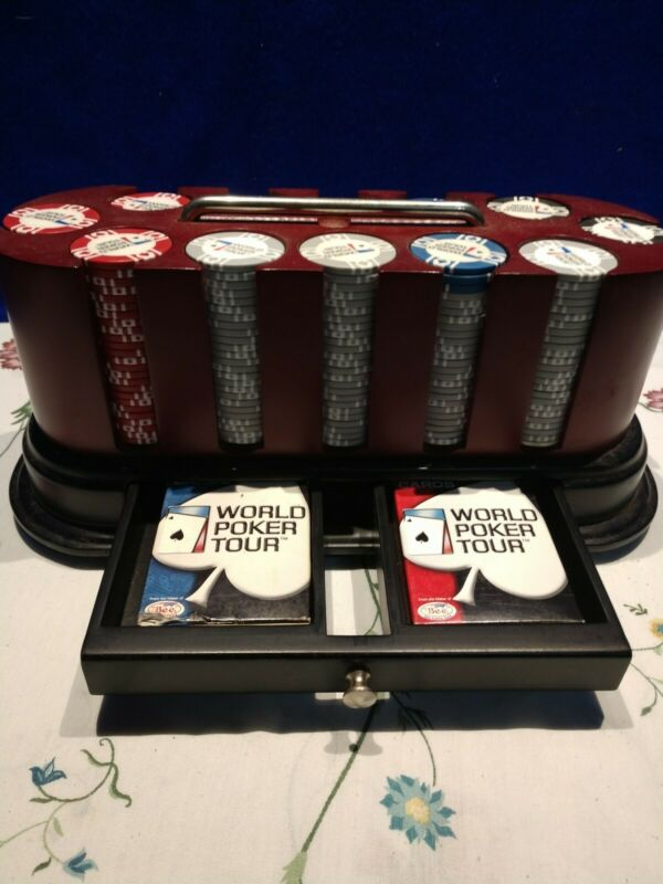 Poker Chip Collection On Mohogony  swivel  Base