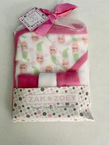 NEW Zak & Zoey Pink Mermaids Hooded Towel & 3 Washcloths Set Baby Bath