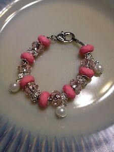 NEW* Ladies Pink with Faux Pearls and Crystals