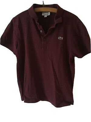 Maroon Lacoste Polo Shirt Size USA Medium Mens for sale  Shipping to South Africa