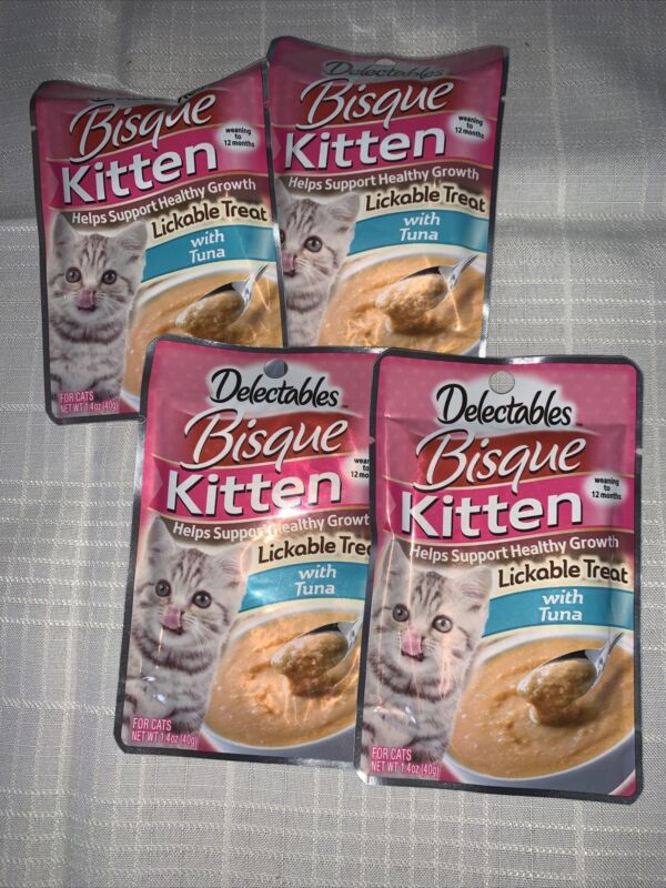 HARTZ DELECTABLES BISQUE LICKABLE TREAT WITH TUNA FOR Kittens X 4 Lot 1.4oz Each