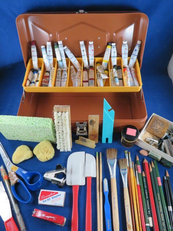 Vintage Brown Metal Artist Tool Box Grumbacher Watercolors Art Supplies LOT
