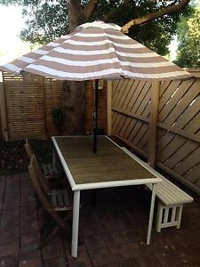 Ikea Outdoor Setting (1 table, 2 chairs, 1 bench and 1 umbrella) Williamstown Hobsons Bay Area Preview