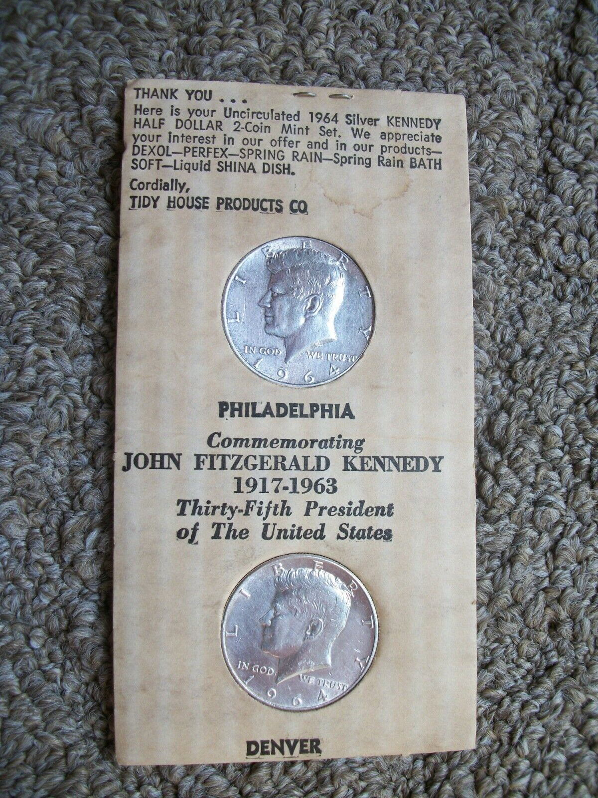 1964P 1964D 90 Silver Kennedy Half Dollars Advertising TIDY HOUSE PRODUCT CO. - $24.99