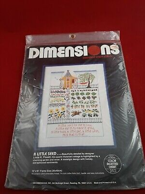 """NEW DIMENSIONS 3574 A LITTLE SEED COUNTED CROSS STITCH KIT 12"""" X 16"""""""