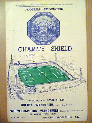1958 Programme: Charity Shield: BOLTON WANDERERS v WOLVERHAMPTON WANDERERS
