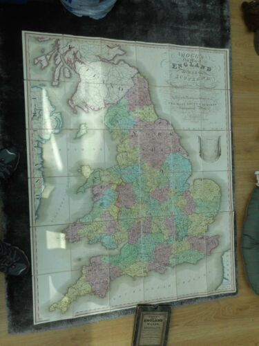 100% ORIGINAL LARGE ENGLAND AND WALES  FOLDING MAP ON LINEN BY MOGG C1834
