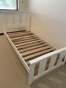 Single white bed frame