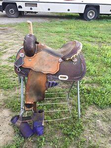 """15"""" Spotted Feather 111 Billy Cook Barrel Saddle"""
