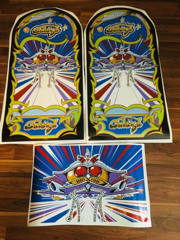 Galaga Arcade Game Side Art Kickplate Decal set 3 Piece Laminated High Quality