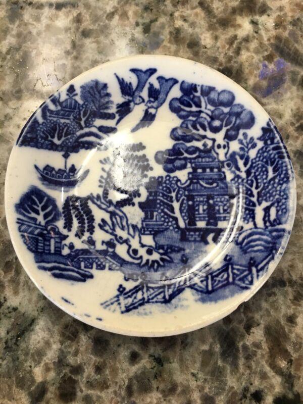 """Barker Bros Longton Blue Willow Butter Pat Salt Cellar 3 1/4"""" England"""