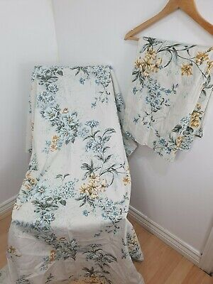 Vintage AVON Fabrics Silvia Blue Cream Floral Curtains Chintz Country