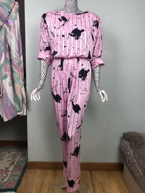 Vintage ACT I 80s Cotton candy Pink abstract print Jumpsuit Catsuit pants 11/12
