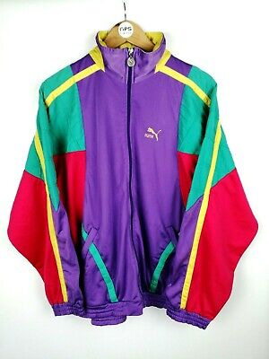 Vintage Rare 80s PUMA Zip Shell Track Top Jacket Retro Multicolour | Large