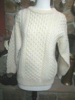 Aran Crafts 100% Wool Cream Cable Knit Sweater Made in Ireland Size M MINT
