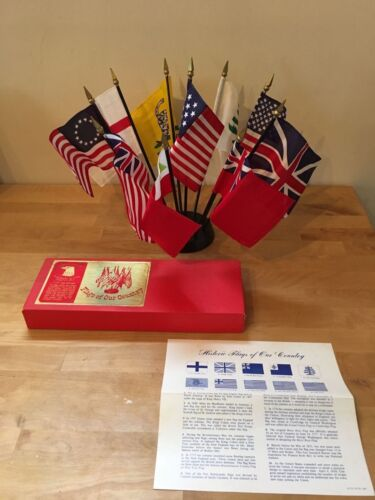 "Vintage ANNIN & CO. Flags of Our Country Desk Display - Ten 4x6"" Flags w/ Base"