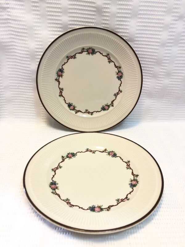 """Shenango China """"Angelique""""-Ivory/Brown Trim/Floral Ring-Dinner Plate Set (Qty.2)"""