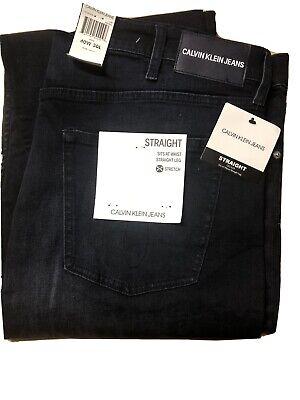 NWT Mens Calvin Klein Dark Blue Straight Leg Stretch Jeans Pants 40x30 Andres