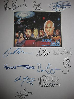 Star Trek Next Generation Pilot Signed Script x12 Patrick Stewart Wil Wheaton RP