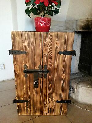 Rustikaler Schrank (NEU Barschrank geflammt rustikal Shabbychic Farbe wählbar Holzkiste Holztruhe 1)