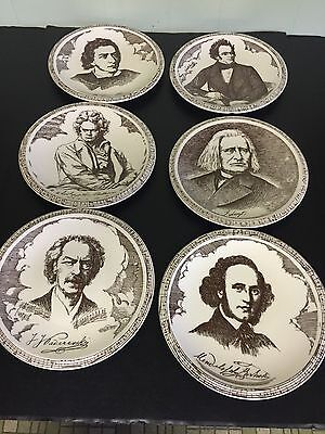 Famous Musicians Collector Plates Wall Decor Set 6 Vintage Beethoven Plus