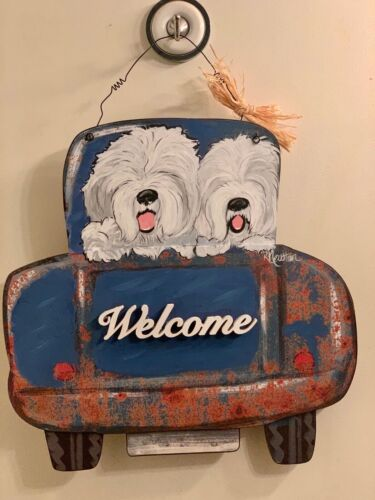 Hand painted Old English Sheepdog WELCOME sign rusty old blue truck