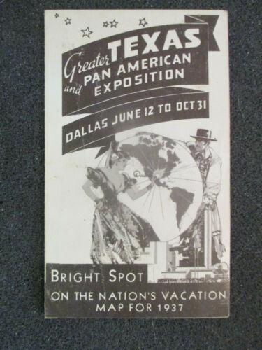 BROCHURE: 1937 GREATER TEXAS & PAN AMERICAN EXPOSITION DALLAS, TEXAS