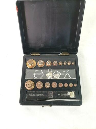 Ohaus Corp Vintage Brass Weights Balance Scale Medicine Science