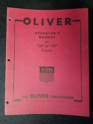 New - Original Oliver Operators Manual For 90 Or 99 Tractor No. S1-4-a13