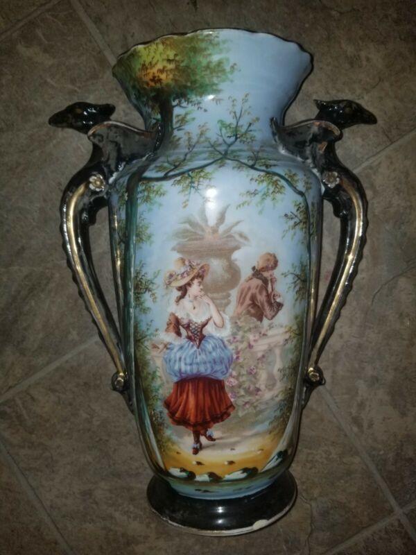 "Antique Old Paris Porcelain Vase Hand Painted Girl & Man Scene 13"" Tall Victoria"