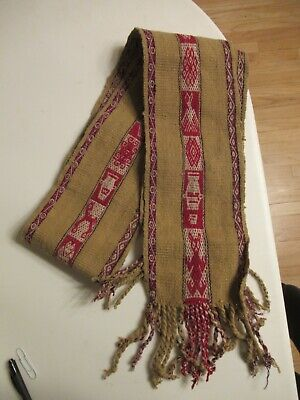 Vintage Scarf Styles -1920s to 1960s Vintage Wool Handmade Scarf with Native Pattern Tan & Red - 70
