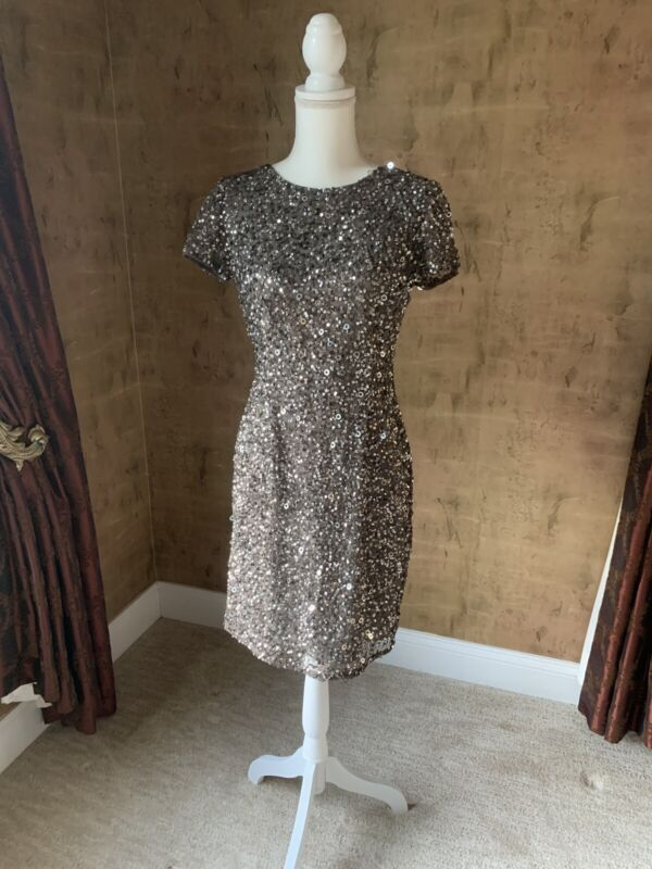 Adrianna Papell Sequin Cocktail Dress Silver/grey Size 8 NWT Med Length $180
