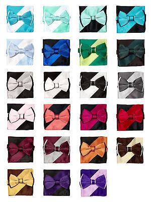Bow Tie Handkerchief Set Two Tone Solid Color Design BowTie Hanky Pocket (Design Bow Tie Set)