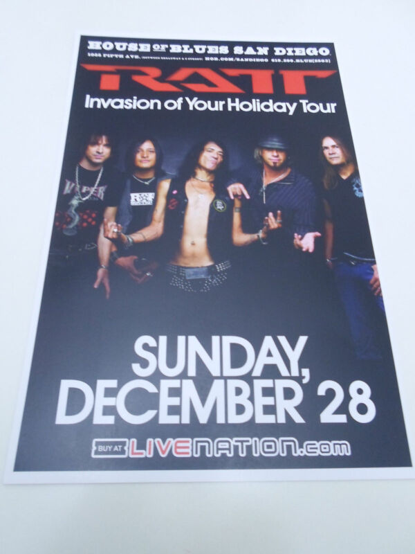 "RATT Concert Poster Invasion of your Holiday San Diego House of Blues 11""x17"""