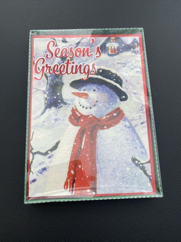 Christmas House 12 Christmas Cards Seasons Greetings Snowman