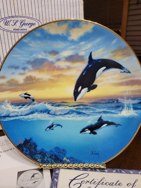 """W.L. George """"Jumping For Joy"""" Decorative Plate 1991 Orca Whale"""