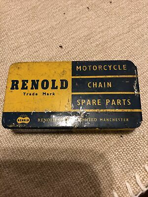 Vintage 1950s Motorcycle Chain Spare Parts Reynold Tin With Some Part And Clips