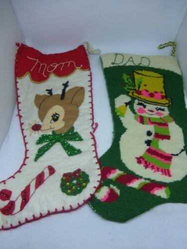 Super Cute Vintage Mid Century Christmas Felt Beaded Needlepoint Stockings Deer