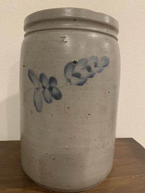 "Antique Primitive Salt Glazed 2-gallon Stoneware ""BLUE WISPS"" Crock"