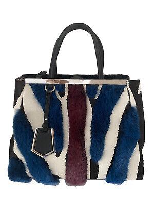 NWOT FENDI 2Jours Medium Zebra-Print Mink Fur Tote Bag Satchel Handbag