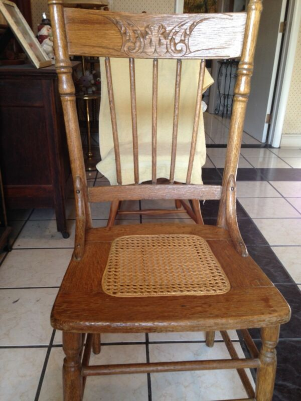 Antique Chair Oak Cane or Wicker seat Press Back Carved