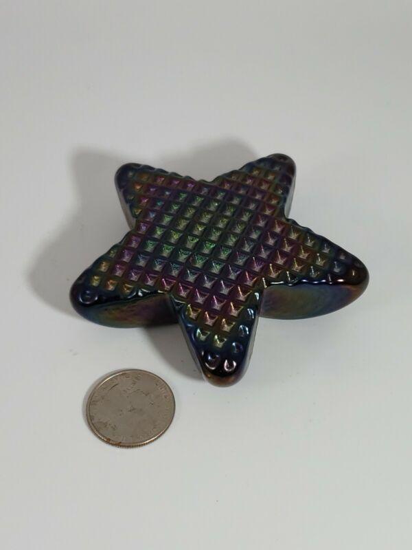 """Robert Held Art Glass Star Paperweight Purple Blue Iridescent 3.5"""" wide"""