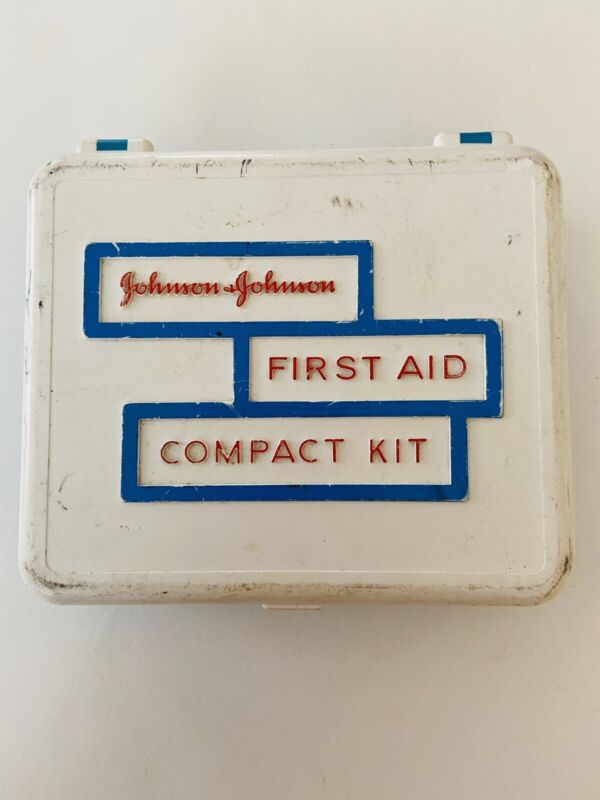 JOHNSON & JOHNSON FIRST AID KIT VINTAGE - With Scissors, Tape, And How To Paper