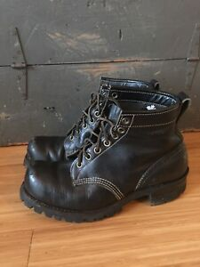 MENS SIZE 9.5 DAYTON MOTORCYCLE BOOTS BLACK LEATHER
