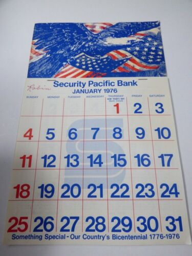 Vintage Security Pacific Bank 1976 Monthly Advertisement wall Calendar