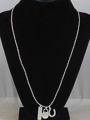 Ralph Lauren Polished Silvertone Pave' Bar Padlock Horseshoe Charm Necklace $48