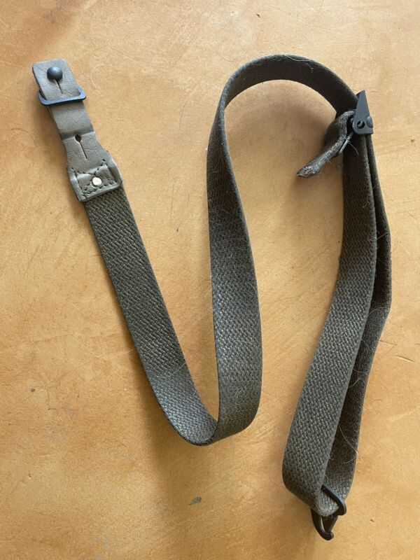 Spanish CETME C Rifle Sling, OD Green Canvas, HK, Gun With Stud Plate
