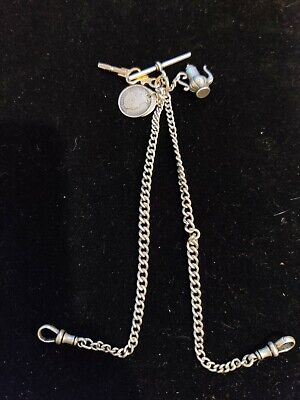 Vintage .925 Sterling Silver GRADUATED DOUBLE ALBERT Watch Chain (29g)